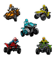 five full-color quad bikes from different angles vector image