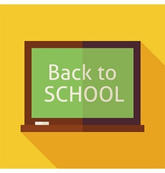 Flat Back to School Chalkboard with long Shadow vector image