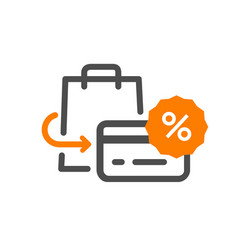 Flat line design concept icon purchase returns vector