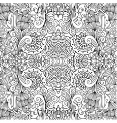 floral decorative doodle linear pattern vector image vector image