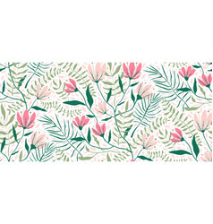 flowers and leaves exotic design seamless pattern vector image