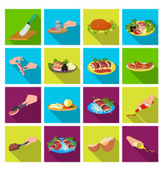 Fried chicken cooking chop slicing vegetables vector