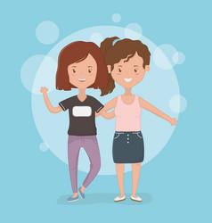 Friendship girls cartoons design vector