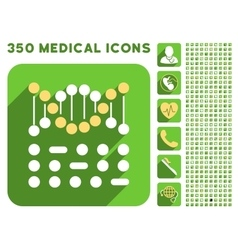 Genetic Code Icon and Medical Longshadow Icon Set vector