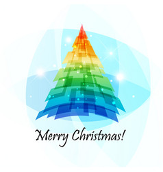 geometric christmas tree card vector image