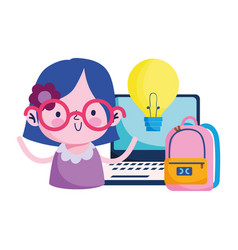 Girl kid with laptop bag and light bulb vector