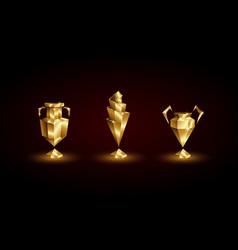 Golden low poly soccer cups set vector