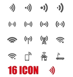 grey wireless icon set vector image