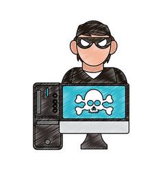 Hacker on computer scribble vector