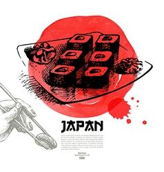 Hand drawn Japanese sushi sketch vector