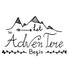 hand drawn unique typography design of adventure vector image