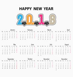 handshake sign and happy new year 2018 vector image