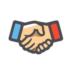 Handshake two hands handclasp icon cartoon vector