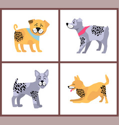 Happy dogs icons collection on vector