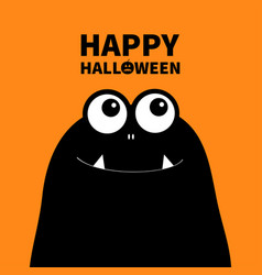 Happy halloween monster head silhouette two eyes vector