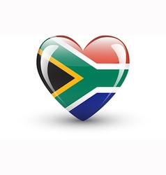 Heart-shaped icon with flag south africa vector