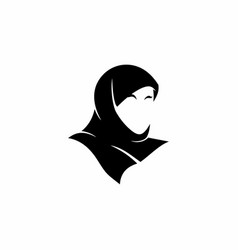 Hijab silhoutte icon logo template vector
