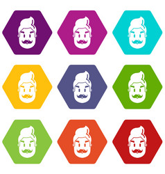 hipster man face icons set 9 vector image