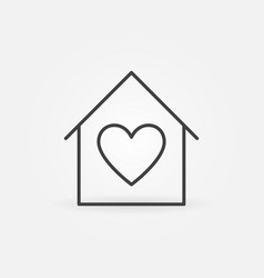house with heart linear icon stay home vector image