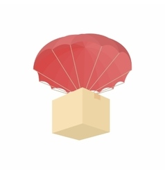 Humanitarian aid in a box with a parachute icon vector