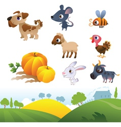 Isolated cartoon farm animals on white background vector
