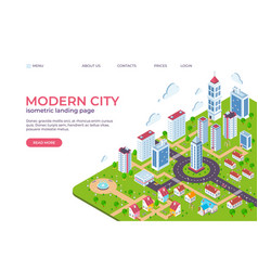 Isometric city landing page 3d smart city concept vector