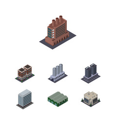 Isometric construction set of tower house office vector