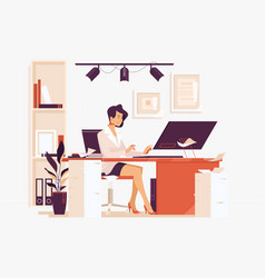 Large amount work businesswoman sitting on her vector