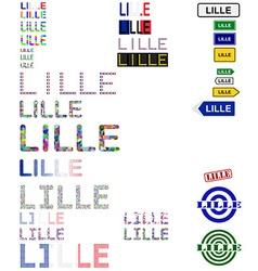 Lille text design set vector