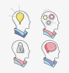 line silhouette head concept mental health vector image
