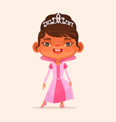 Little girl child character in princess suit vector