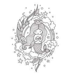 Little queen mermaid with fish vector