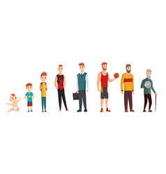 Male different age newborn baby teenage boy and vector