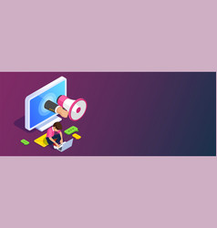 media marketing isometric concept vector image