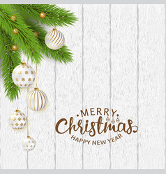 Merry christmas poster with balls and branches vector