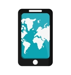 modern cellphone with world map on screen icon vector image