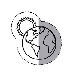 Monochrome sticker contour with sunset over planet vector