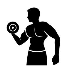 Muscular Man Silhouette Lifting Weights Fitness vector
