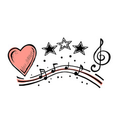 Musical notes and heart sketch vector