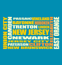 new jersey state cities list vector image