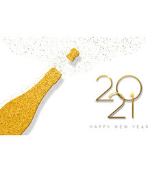 new year 2021 gold glitter champagne bottle card vector image