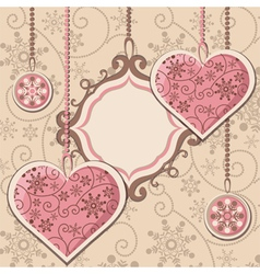 New Year hearts and frame vector image