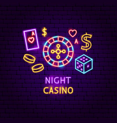night casino neon label vector image