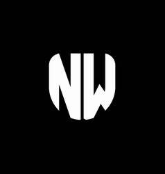 nw logo monogram with circular shape shield vector image