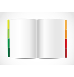 Opened paper album with color bookmarks vector image