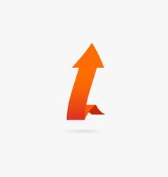 orange popular arrow sticker isolated origami vector image