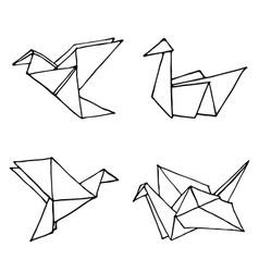 Origami birds hand drawn doodle set vector