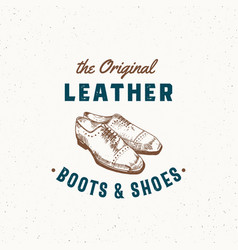 original leather boots and shoes retro sign vector image