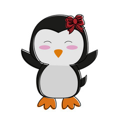 Penguin with open wings cute animal cartoon icon vector