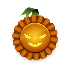 Pumpkin award with ribbon and scary face vector